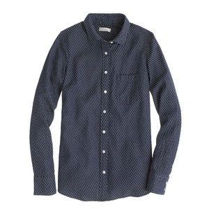 J. Crew Denim Boy Shirt in Embroidered Polka Dot